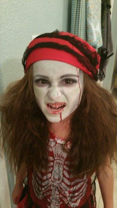Kid zombie pirate makeup for Halloween | Pirate makeup, Halloween .