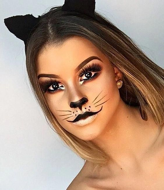 50 Pretty and Unique Makeup Looks For Halloween; cute makeup; easy .
