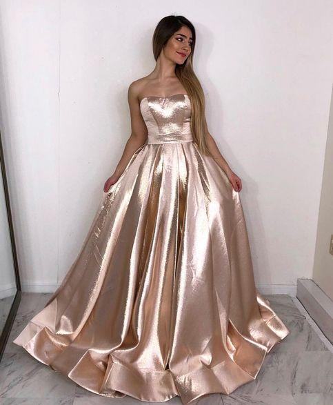 Simple satin long prom dress, formal dress from Dress idea .