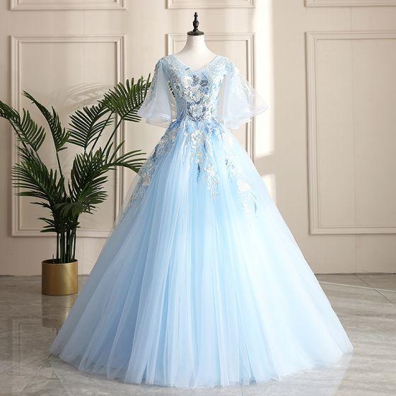 Classy Sky Blue Prom Dresses 2019 A-Line / Princess V-Neck Pearl .