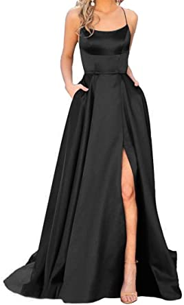 Long Satin Prom Dresses 2020 Slit Spaghetti Straps with Pockets .
