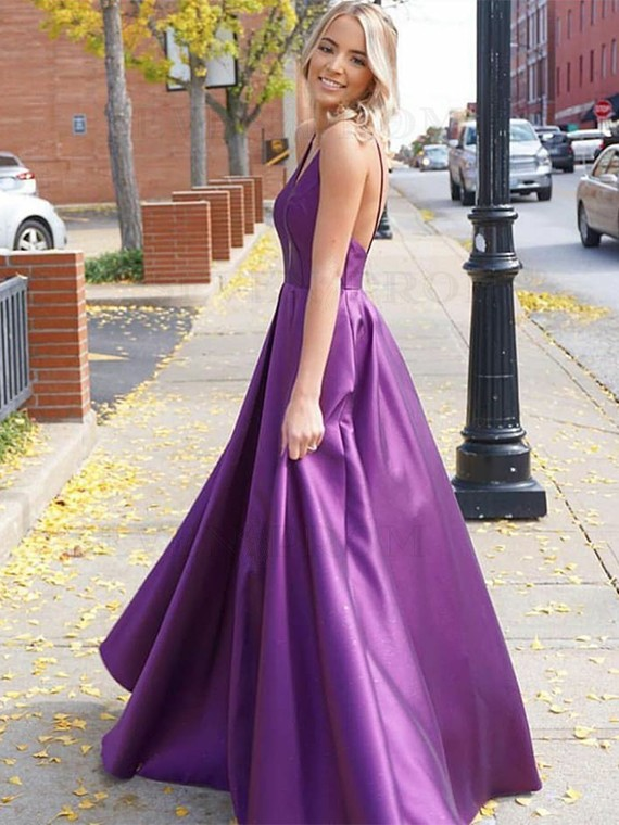 Buy Simple A-Line Purple Prom Dress V-Neck Sleeveless Open Back .