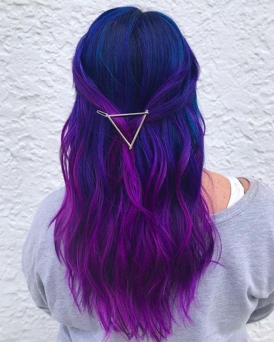 Blue and Purple Hair Color Ideas | Cute hair colors, Purple ombre .