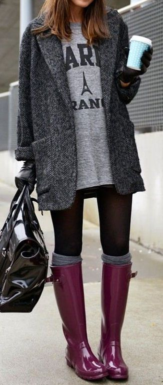 Dark Grey Tweed Coat | Cute rainy day outfits, Rainy day outfit .