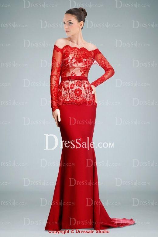 Ravishing Off-the-shoulder Sheath Evening Dress Featuring Lace .