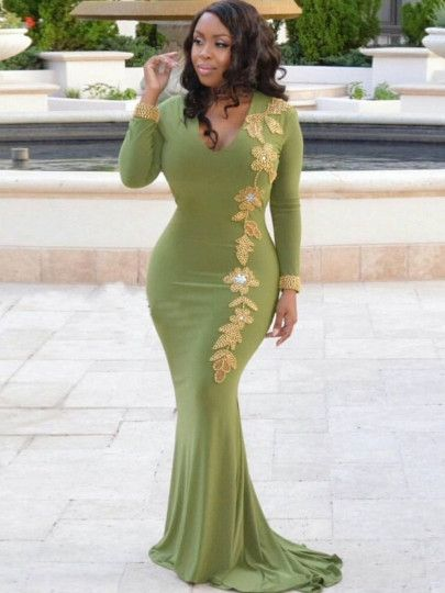 Ravishing Green Bodycon Appliques Maxi Dress   Womens maxi dresses .
