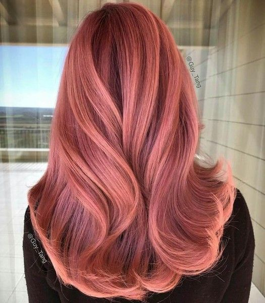 Peachy Pink | Hair color rose gold, Gold hair colors, Hair styl