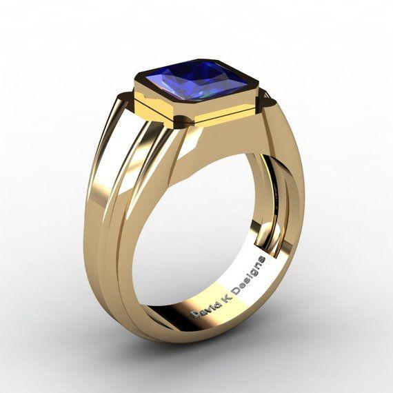 Mens Modern 14K Yellow Gold 2.0 Ct Princess Blue Sapphire Ring .
