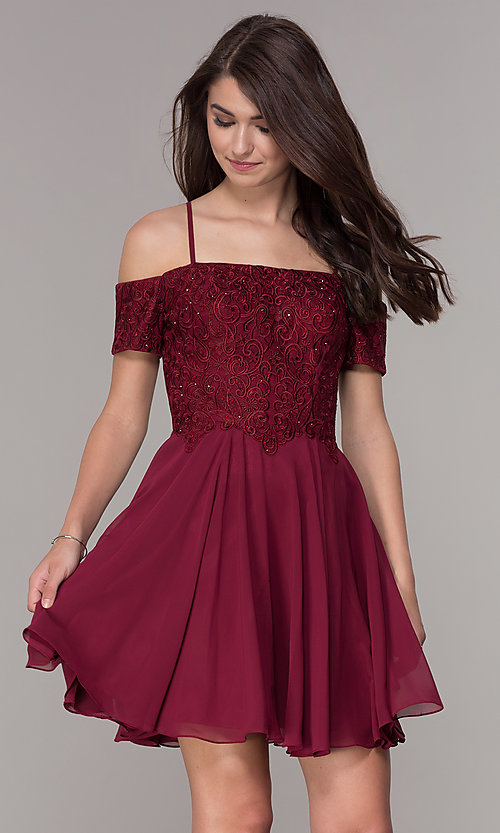 Short-Sleeve Off-Shoulder Homecoming Dress - PromGi
