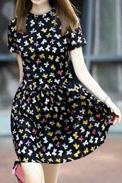 Hand Print Round Neck Short Sleeve Dress BLACK: Print Dresses .