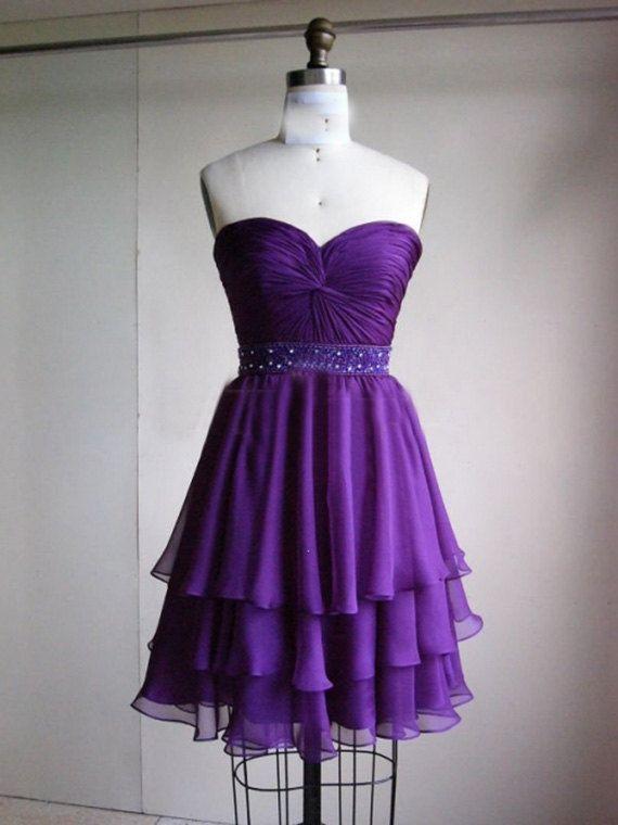 3 layer purple prom dress ,short prom dress praty dress 2014 .