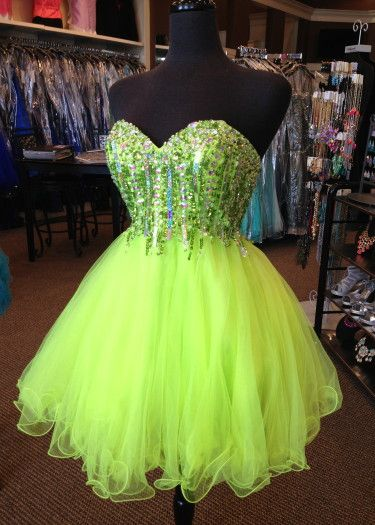 Short Homecoming Dress ! #homecoming #neon #raelynns #bling | Lime .