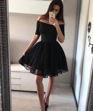 Simple black short prom dress, black homecoming dress – shdre