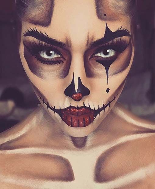 Skeleton Clown Halloween Makeup Idea for Women | Halloween .