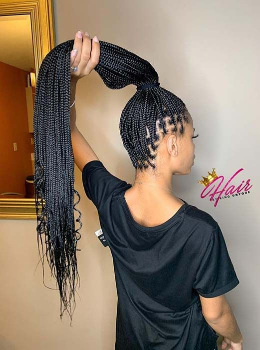 43 Pretty Small Box Braids Hairstyles to Try | StayGlam in 2020 .