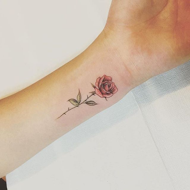 Red #rose by @tattooist_up · Seoul | Small rose tattoo, Rose .