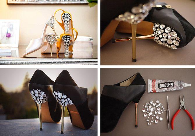 High Heel Shoes Makeover: DIY Jeweled Heels   Shoe makeover, Diy .