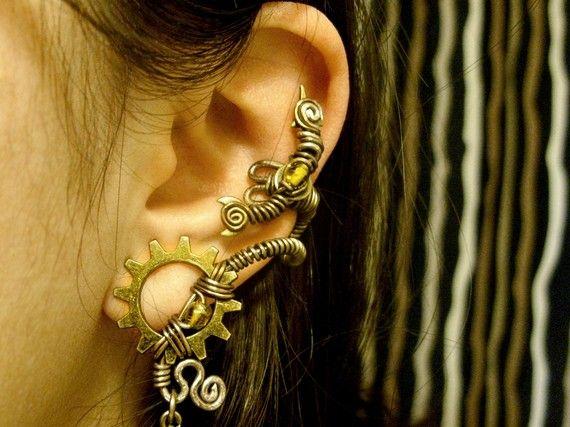 Steampunk earring / earcuff | Steampunk earrings, Women .