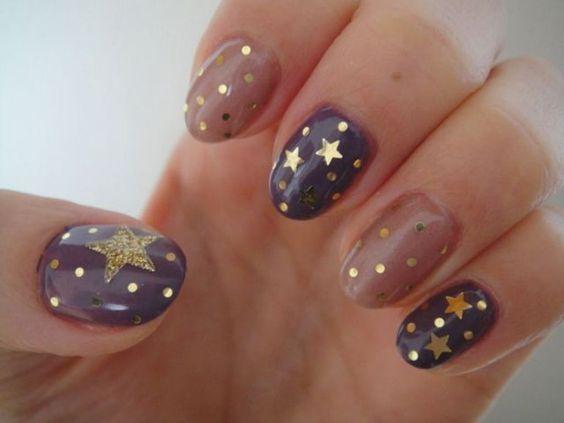 Moon and Star Nail Art | Star nail designs, Star nail art, Cute nai