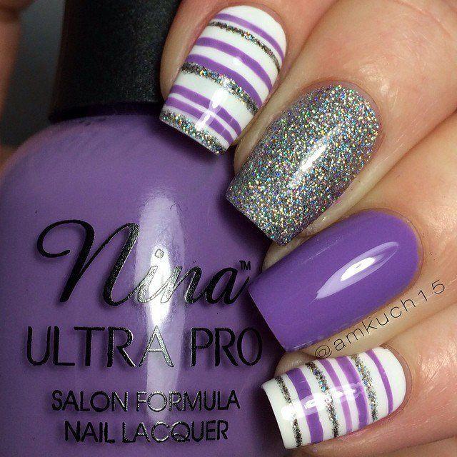 21 Beautiful Striped Nail Designs | Nail Design | Gel nail art .
