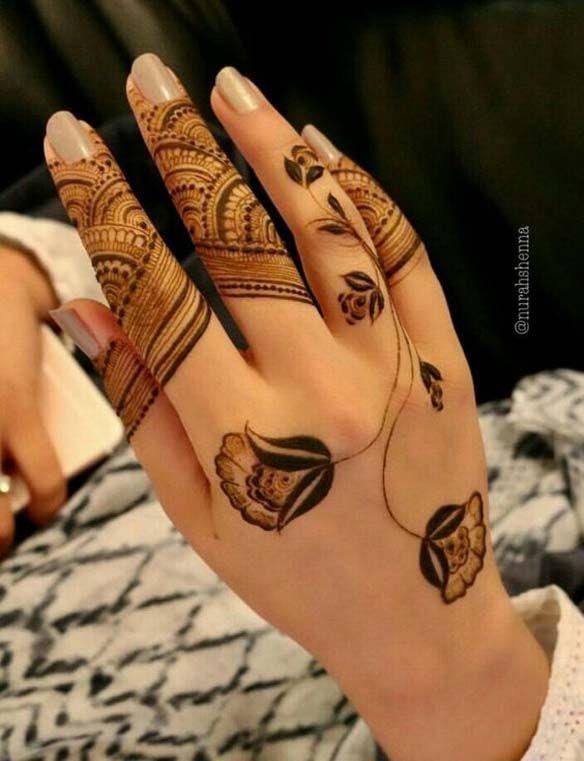 Stunning Back Hand Henna Design | Kına tasarımları, Kına dövmeler .