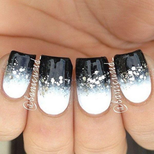 70+ Stunning Glitter Nail Designs 2017 | Black and white nail art .