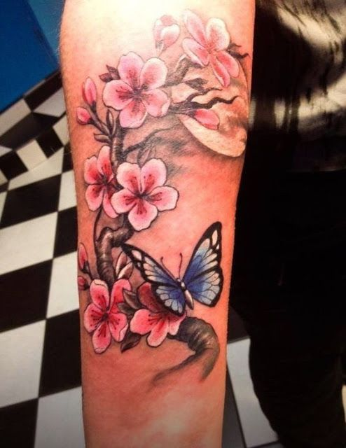 Stunning Butterfly and Cherry Blossom Tattoo Designs | Butterfly .