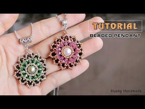 Stunning beaded pendant or earrings DIY - YouTube in 2020 | Bead .
