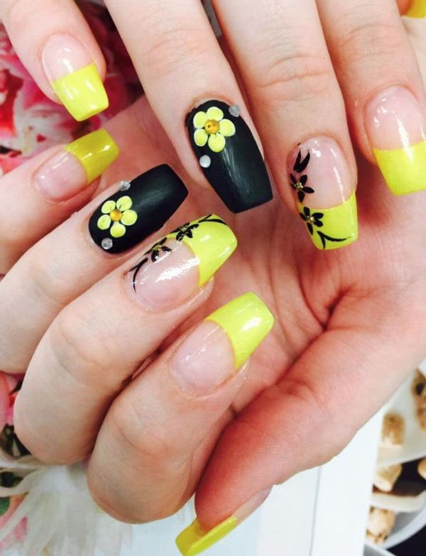 lovely yellow acrylic nail design arts | Flower nails, Trendy nail .