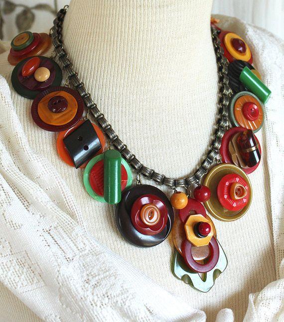 Antique Bakelite button Necklace, statement, assemblage, fall .