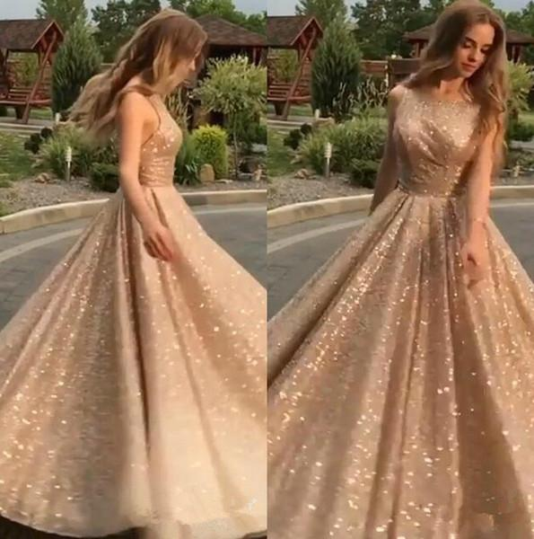 Champagne Open Back Stunning Prom Dresses A Line Sequin Formal .