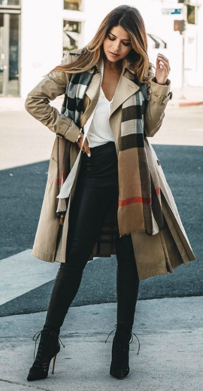 with-leather-pants Trench Coat Outfits Women-19 Ways to Wear .