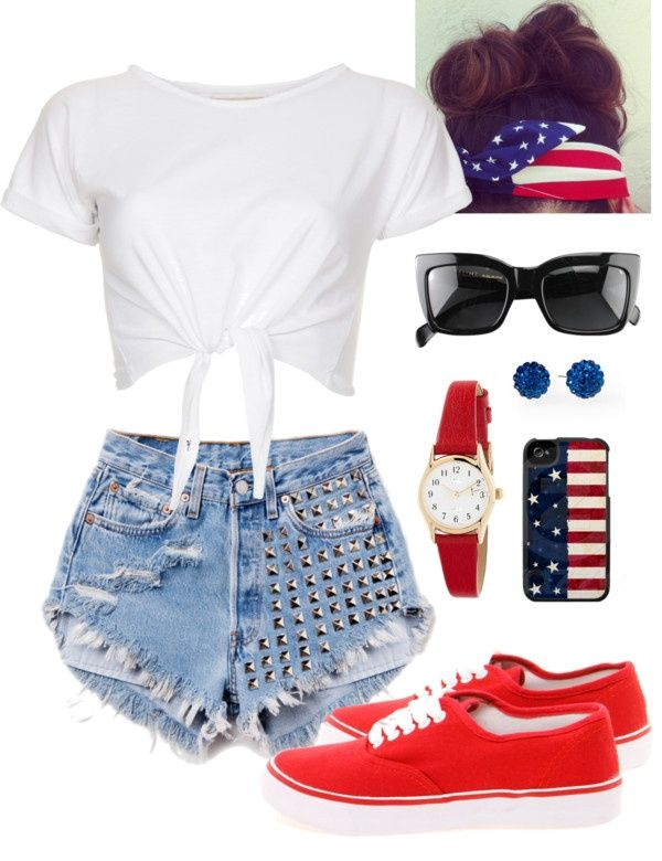 """Fourth of July outfit idea ❤"""" by sarahnaomixo on Polyvore ."""