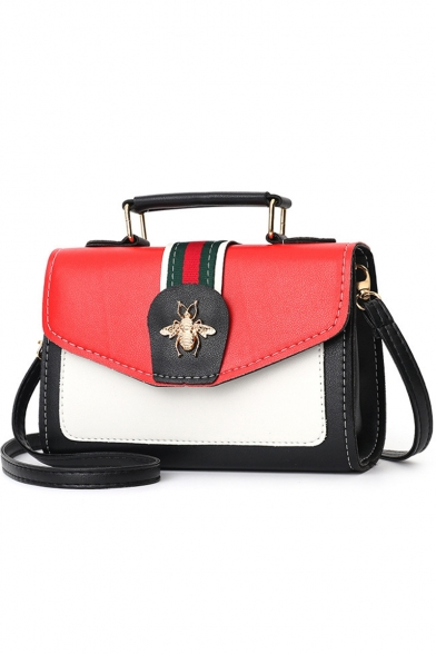 Stylish Color Block Stripe Pattern Bee Embellishment Satchel .