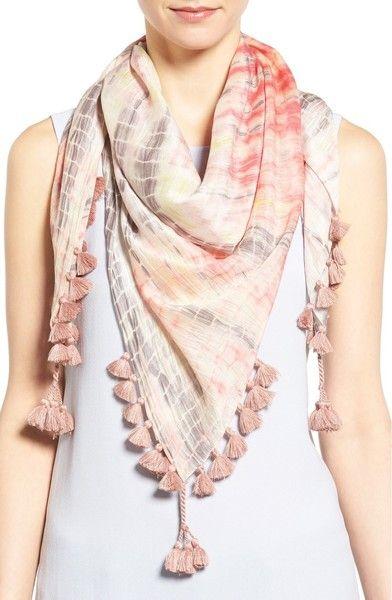 Eileen Fisher Modal & Silk Tassel Trim Scarf | Scarf styles, Scarf .