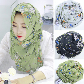 Lady Women's Floral Print Stylish Scarves Designs Hijab Scarf .
