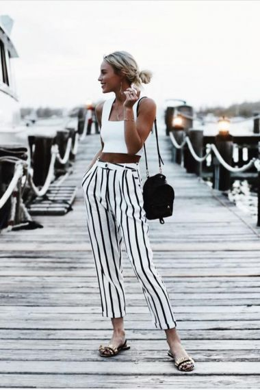 White stripe trousers and crop top | streetstyle | summer style .