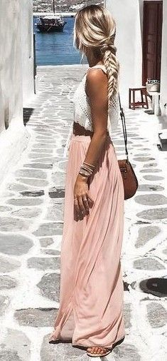 Summer look | White crochet crop top with pastel maxi skirt .
