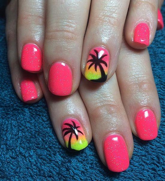 Easy and Cute Summer Nail Art Ideas | 5WaysTo.net | Palm tree .