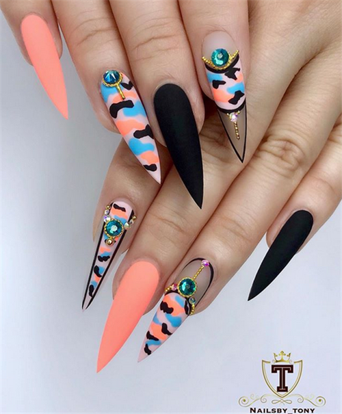 Gorgeous Acrylic Stiletto Nails Design In Summer - Nail Art .