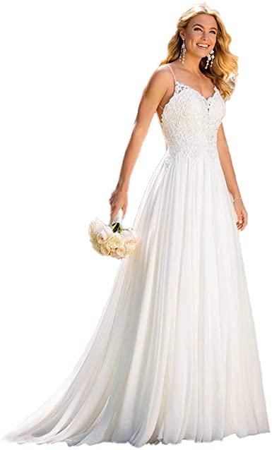 Wedding Dress for Bride 2020, Beach Vintage A Line Backless Boho .