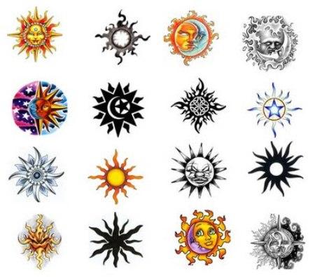 Colorful Sun Tattoo Designs Ide