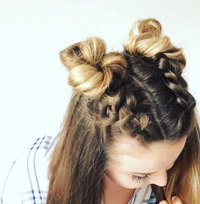 Double Dutch Braid Buns Half-up Hairstyle - Cassie Scroggins .