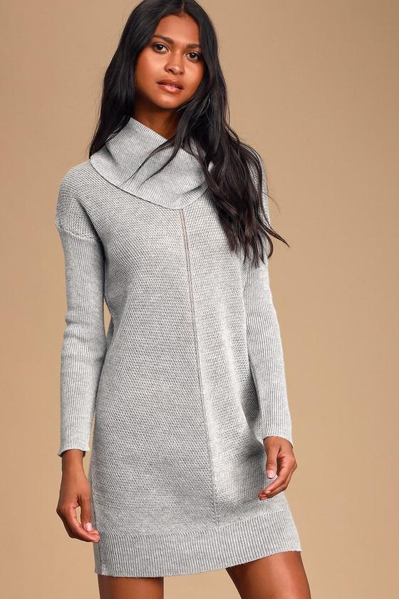 Cute Grey Knit Dress - Cowl Neck Dress - Long Sleeve Dress - Lul