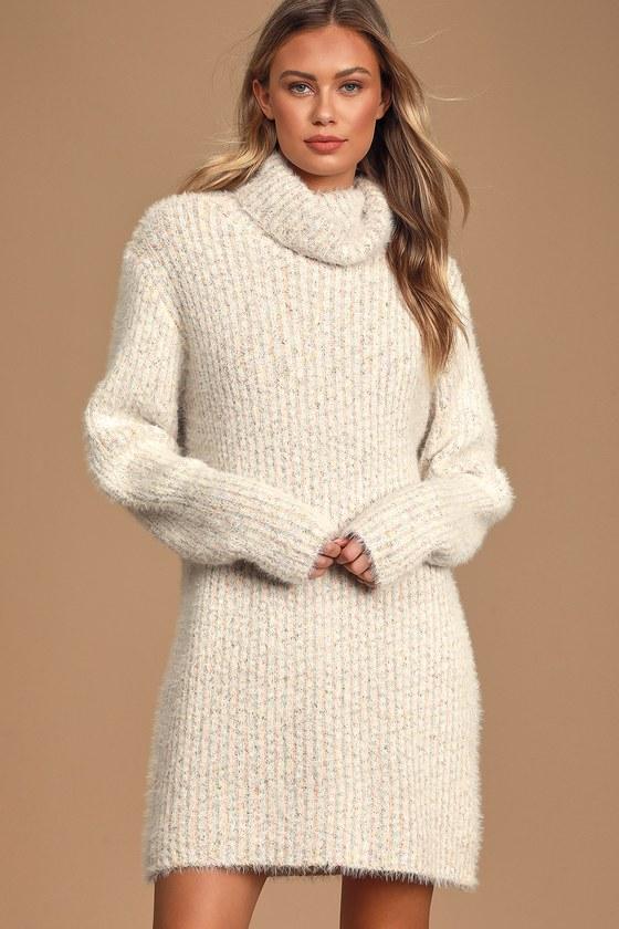 Eyelash Knit Sweater Dress - Turtleneck Dress- Multi Color Dress .