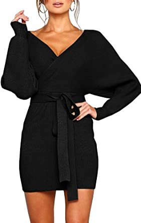 Amazon.com: YeMgSiP Womens Wrap Sweater Dresses Deep V Neck .