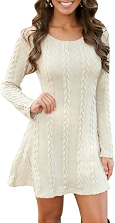 Sumtory Women Cable Knit Dress Slim Fit Long Sleeve Sweater .