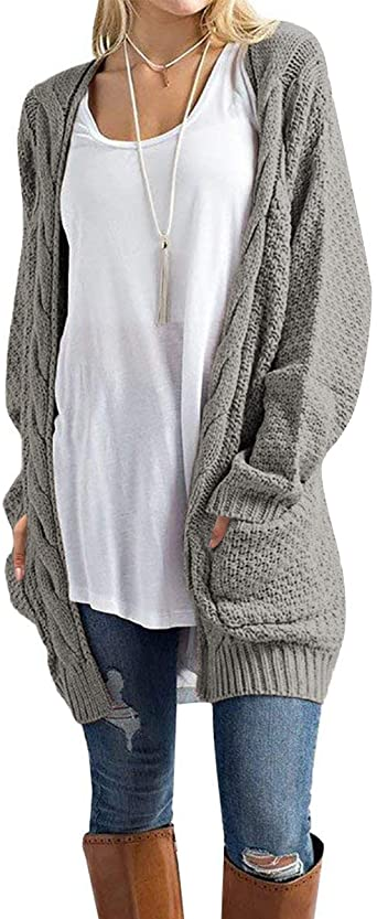 U.Vomade Womens Sweaters Boho Long Sleeve Open Front Chunky Cable .