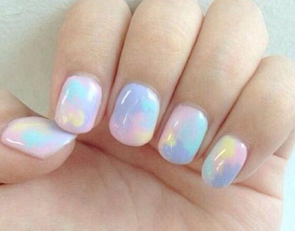 Pastel tie dye nails | Opal nails, Pastel nail art, Love nai