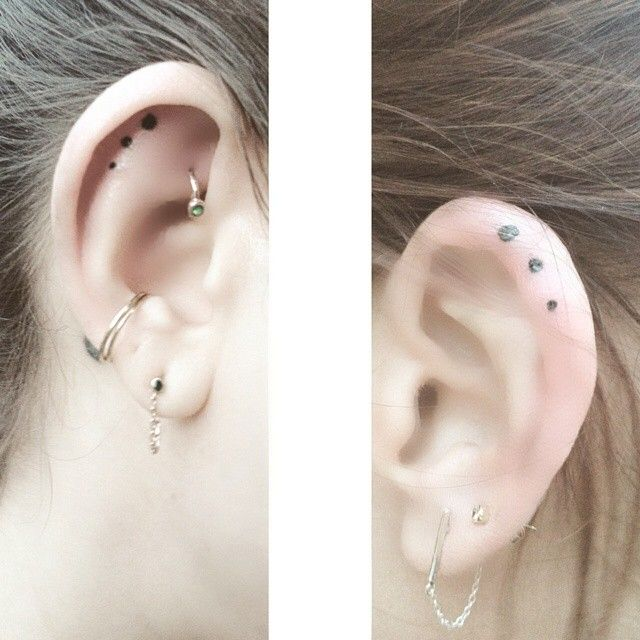 23 tiny ear tattoos that are better than piercings | Ear, Ear .